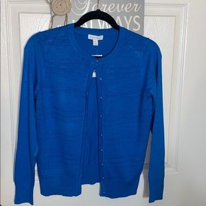 Charter Club Blue Textured Buttoned Cardigan
